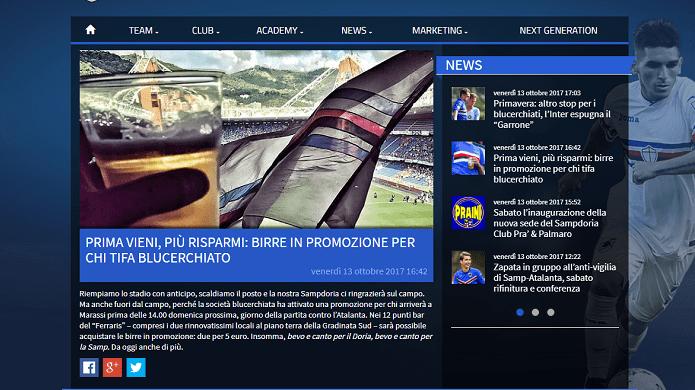 sampdoria birra promozione