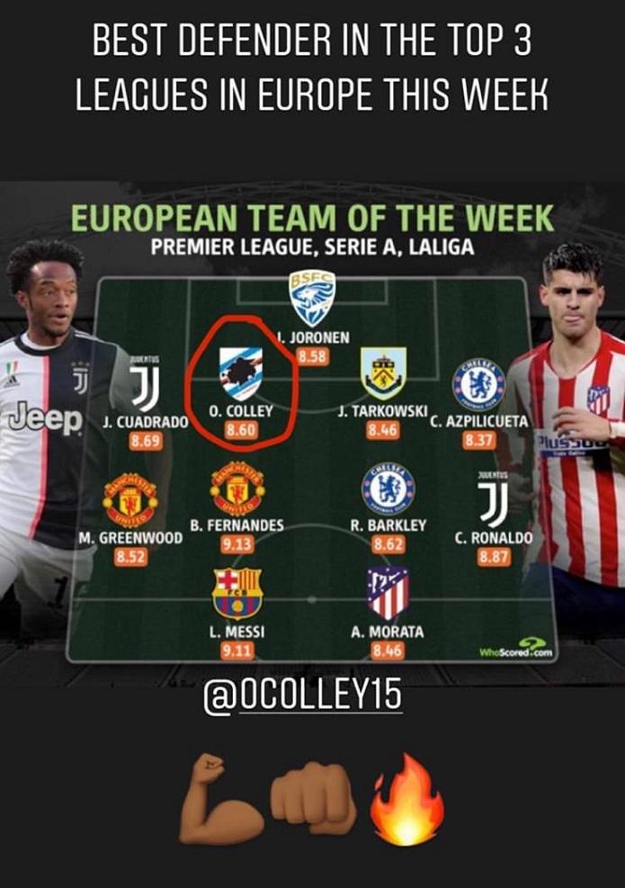 colley squadra della settimana europea
